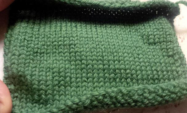 """Swatch of Knitpicks Wool of the Andes Superwash in """"Grass"""", AFTER washing/drying"""